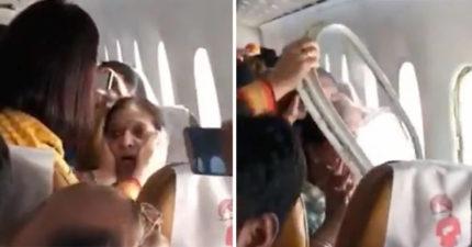 氣流太強機窗掉了!靠窗女客又被吸出窗外 乘客嚇哭:快點拉她