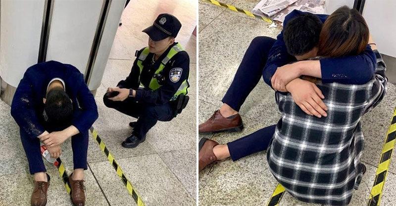 西裝男應酬完爆哭「生活好難」老婆到現場「先擁抱」警察也鼻酸