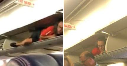 空姐莫名「塞進置物櫃」乘客看傻 航空公司:我家空服員很幽默!