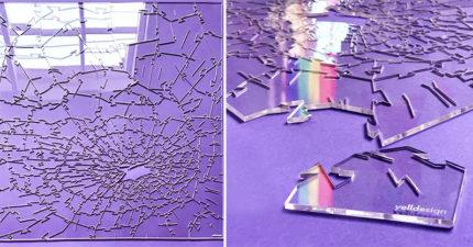 玻璃碎一地?腦洞大開「碎玻璃拼圖」爆紅 215塊全是「透明不規則」