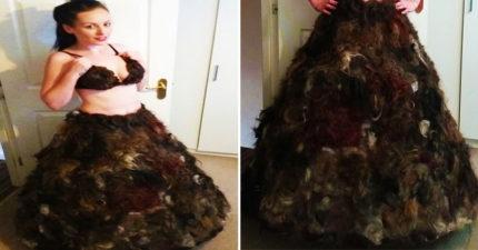 狂女募「神秘Q毛」手作洋裝 上千人湊出整套絨毛晚禮服