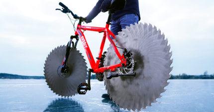 冰上腳踏車研發成功!抓地力超威 網看「冰上實測」驚:像恐怖片